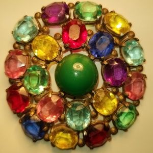 Vintage Multi Colored Round Glass 1940 Brooch